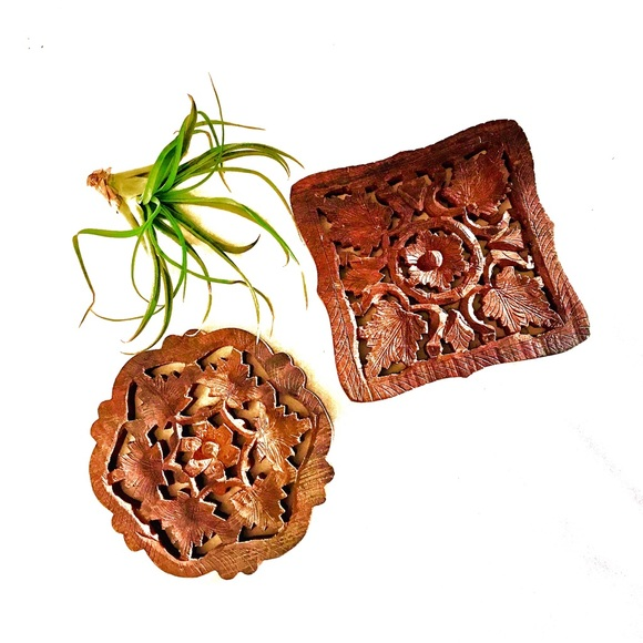 Vintage carved wood trivets
